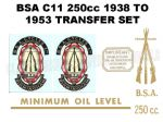 BSA C11 250cc 1938 to 1953 Transfer Decal Set